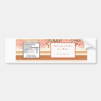 Water Bottle Label Pink and Brown Floral