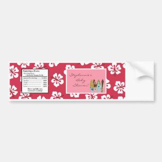 Water Bottle Label Pink Hawaiian Luau Tropical Bumper Sticker
