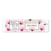 Water Bottle Label Pink Orchid Long Stem Flower Gr