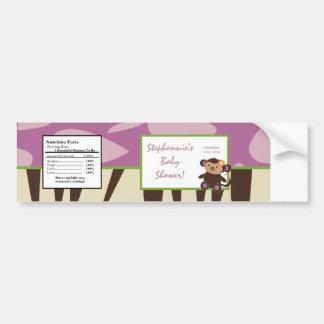 Water Bottle Label Purple Jacana Baby Shower Bumper Sticker