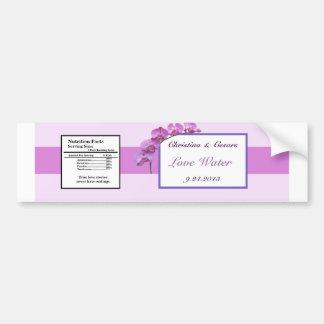Water Bottle Label Purple Orchids on Stem