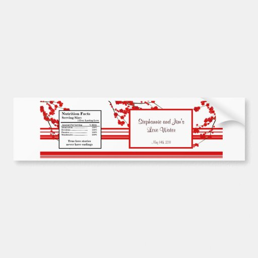 Water Bottle Label Red Cherry Blossom Bumper Stickers
