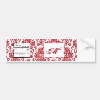 Water Bottle Label Red Crimson White Damask Lace