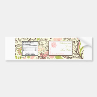 Water Bottle Label Spring Pink/Green Floral Bumper Stickers