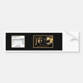 Water Bottle Label Sweet 16 Gold Black Car Bumper Sticker