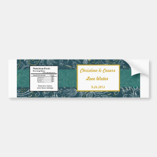Water Bottle Label Teal/Yellow Mustard Floral Dais