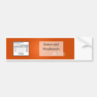 Water Bottle Label Whimsical Orange Double Bike Car Bumper Sticker