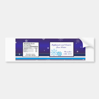 Water Bottle Label White Snow Flakes