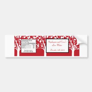Water Bottle Label Winter Gray/Red Tree trees Bumper Sticker