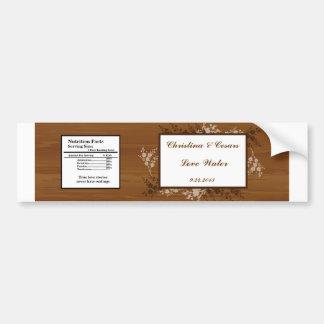 Water Bottle Label Wooden Plank Floral Wedding Flo Bumper Stickers