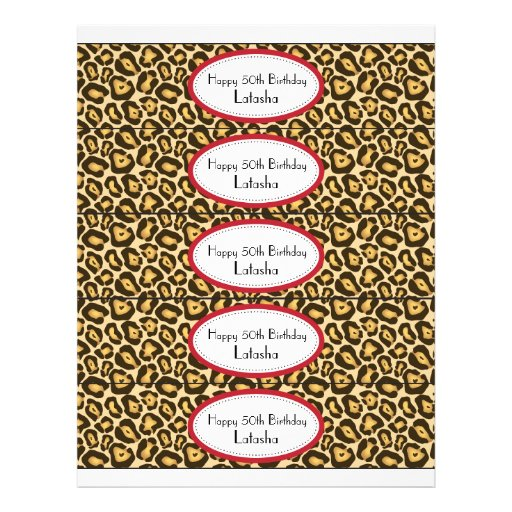 Water Bottle Labels   Red and Leopard Print Flyer