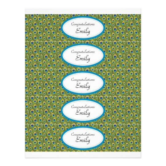 Water Bottle Labels | Turquoise and Peacock Print Flyer