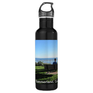 Water Bottle: Man Resting on Bench at Beach Park 24oz Water Bottle