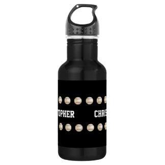 Water Bottle, Personalized, Baseball, Black Stainless Steel Water Bottle