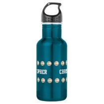 Water Bottle, Personalized, Baseball, Blue Stainless Steel Water Bottle