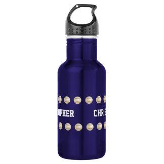 Water Bottle, Personalized, Baseball, Blue Water Bottle