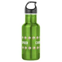 Water Bottle, Personalized, Baseball, Green Stainless Steel Water Bottle