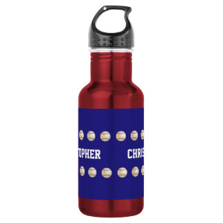 Water Bottle, Personalized, Baseball, Red and Blue Stainless Steel Water Bottle