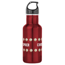 Water Bottle, Personalized, Baseball, Red Stainless Steel Water Bottle