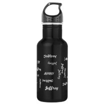 Water Bottle, Personalized, Repeating Name, Black Water Bottle