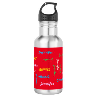 Water Bottle, Personalized, Repeating Name on Red 18oz Water Bottle