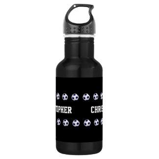 Water Bottle, Personalized, Soccer Black & White Stainless Steel Water Bottle