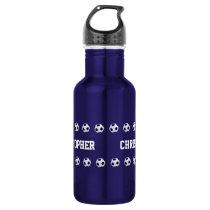 Water Bottle, Personalized, Soccer, Blue Water Bottle
