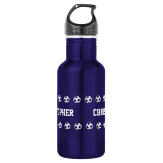Water Bottle, Personalized, Soccer, Blue Water Bottle