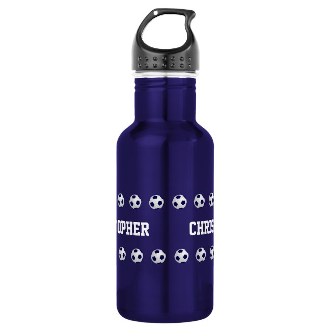 Water Bottle, Personalized, Soccer, Blue