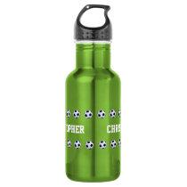 Water Bottle, Personalized, Soccer, Green Stainless Steel Water Bottle