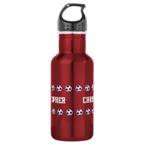 Water Bottle, Personalized, Soccer, Red Stainless Steel Water Bottle