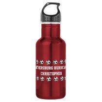 Water Bottle, Personalized, Soccer, Red Water Bottle