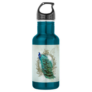 Water Bottle Turquoise Shabby Peacock vintage