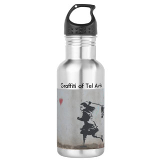 Water bottle with graffiti of girl catching heart
