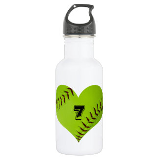 Water bottle with heart shaped softball. 18oz water bottle