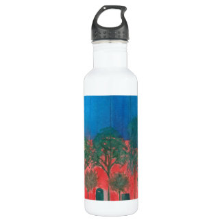 "Water bottle with painting called ""Street Trees"""