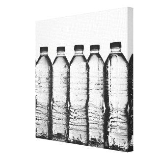 Water bottles in studio canvas print