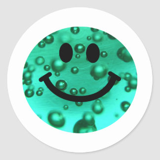 Water bubbles smiley classic round sticker