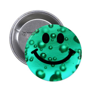 Water bubbles smiley pinback button