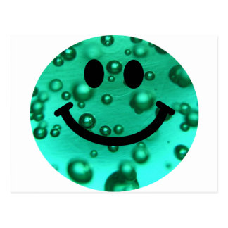Water bubbles smiley postcard