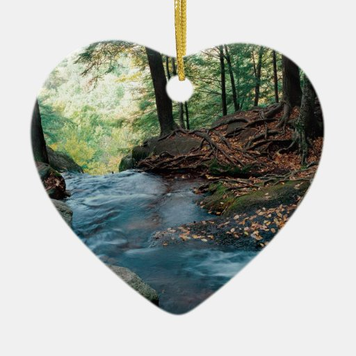 Water Buttermilk Falls Delaware Double-Sided Heart Ceramic Christmas Ornament