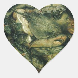 Water by Giuseppe Arcimboldo Heart Sticker