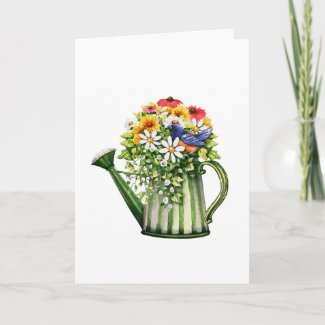 Water can and Flowers Mother's Day Card