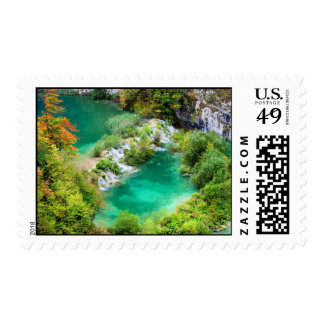 Water Cascade and Lakes Postage Stamp