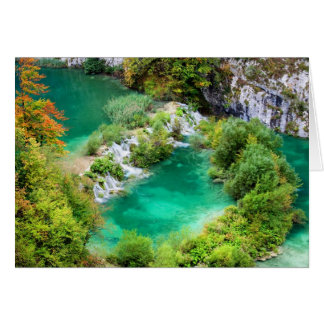 Water Cascade and Two Lakes Greeting Card