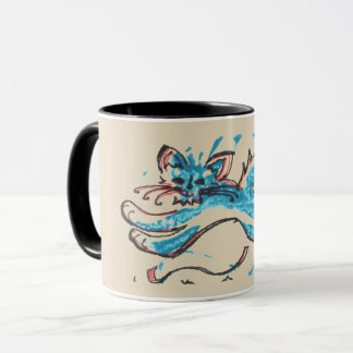water cat leaps across tan background mug