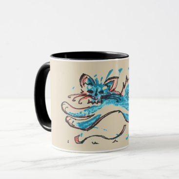 Coffee Themed water cat leaps across tan background mug