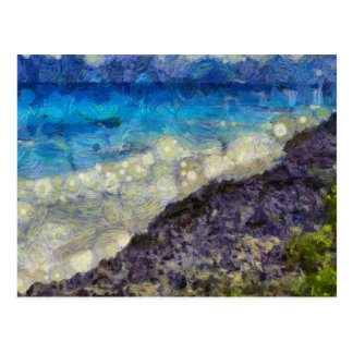 Water chasing beach postcard