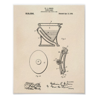 Water Closet 1909 Patent Art Old Peper Poster
