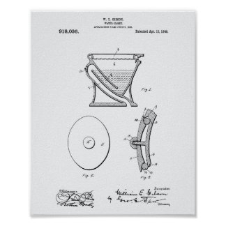 Water Closet 1909 Patent Art White Paper Poster